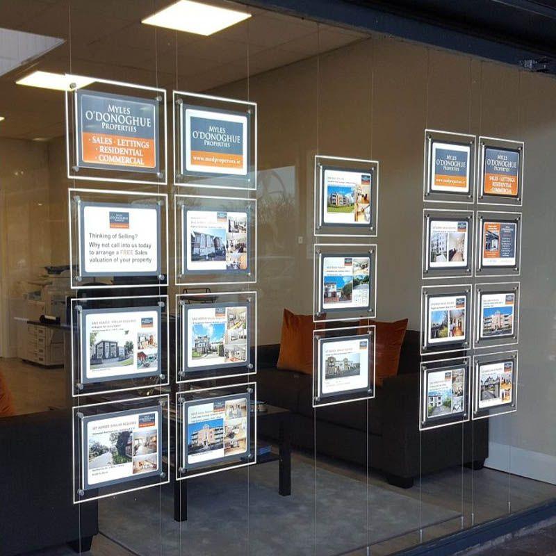 (4Unit / colonne) A3 Systèmes de suspension de câbles à double face double face, cadres d'affiche illumique pour agent immobilier, propriétés, hôtel