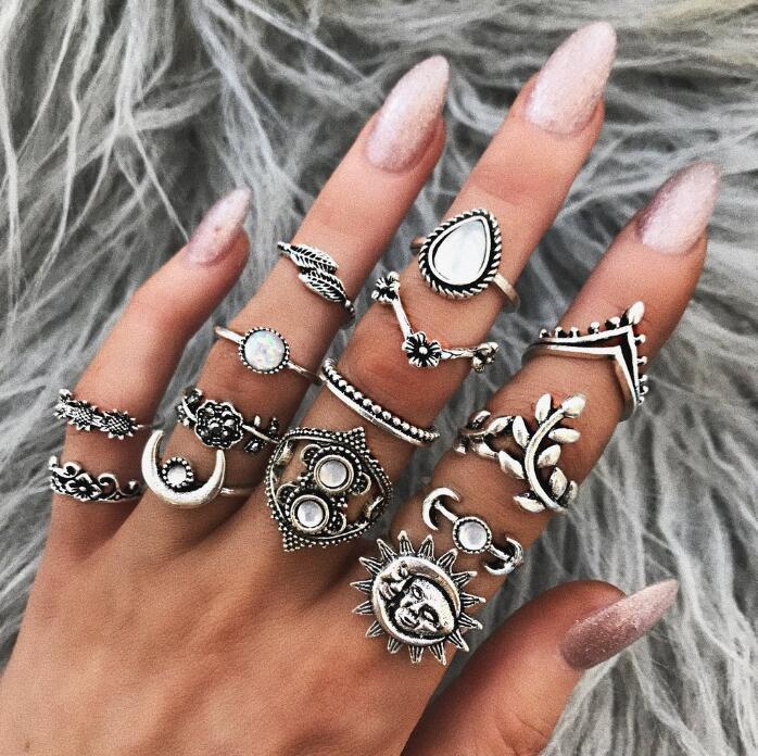 DHL libre 14 piezas Conjunto de anillos de moda Hoja de plata de la luna Conjuntos de nudillos articulados Boho Rhinestone Conjunto de anillos apilables para mujeres niñas M274R
