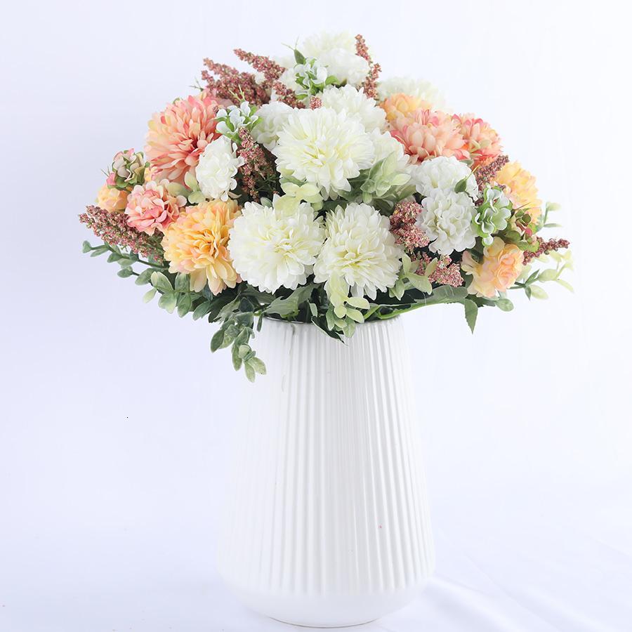 hortensia fleur de soie boule blanche pissenlit décoration mariage maison fleurs artificielles accessoires anniversaire fleurs faux bouquet T191029