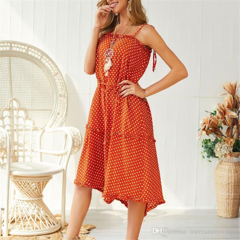 Casual Verão Correia de espaguetes das senhoras sem mangas das mulheres do leopardo vestidos estampados Vestidos Feminino de bolinhas com faixas assimétricas Dresses