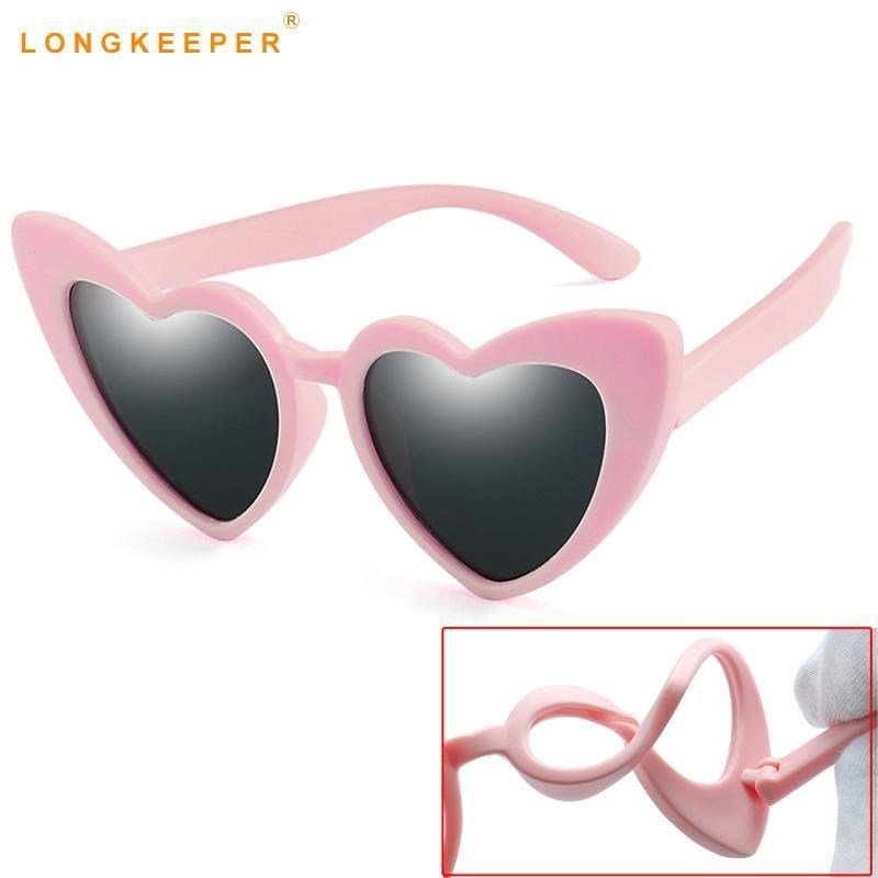 Modis Çocuk Güneş Gözlükleri Aşk Kalp Şekiller Bebek Çocuk Polarize Güneş Gözlüğü Esnek Yumuşak Kauçuk Çerçeve Çocuk UV400 Gözlük Gafas Ymwfe