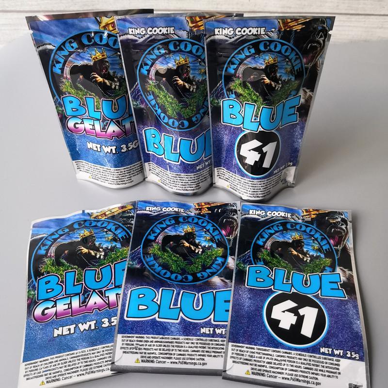 Mylar-Typen Mylar und Blue King California Cookies 3,5g Kekse Blue Bags 41 3 Gelatti-Kekse Königsäcke Sufde