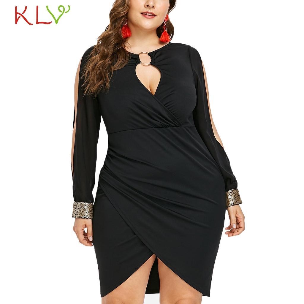 Vestido atractivo de las mujeres 5XL lentejuelas Vestido ajustado anillo elegante de las señoras formales más el tamaño para la tarde del partido del traje Femme Hiver 2019 18Jan14