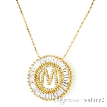 colar para mulheres homens zircão 26 letras pingente círculo cor de ouro ot forma livre do transporte