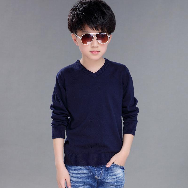 Katı Örgü Kazak Genç Erkek Uzun Kollu Örme Kazaklar Çocuklar Için Bahar 2020 V Yaka Pamuk Kazak Erkek Bebek Giysileri Tops