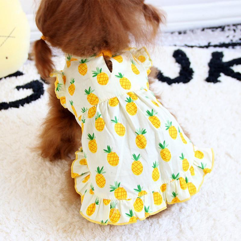Köpekler Etek Hawaii Evcil Dedikodu için Köpekler Evcil Giyim Köpek Pet Elbise Gömlekler için Ananas Köpek Giydirme Yaz Pet Köpek Giyim