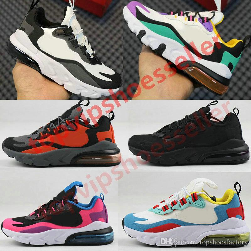 New 270 React Bauhaus TD Kids Shoes Boy Girls Running Shoes Black White Hyper Bright Violet Toddler Children Sneakers 28-35