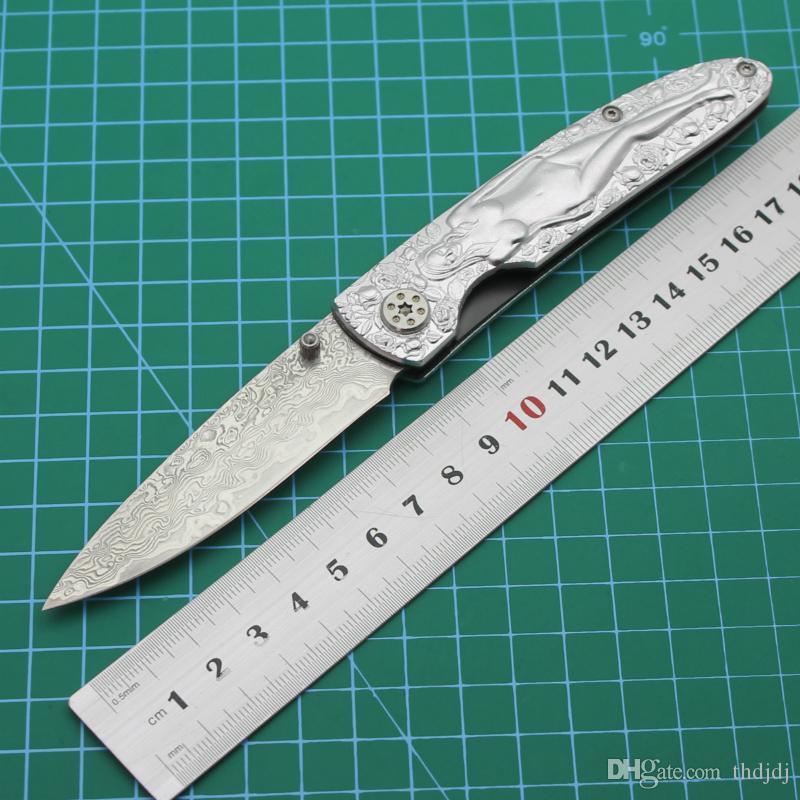 Damasco cuchillo de acero heladas senderismo cuchillo plegable Kit de cuchillo de la recolección de frutos