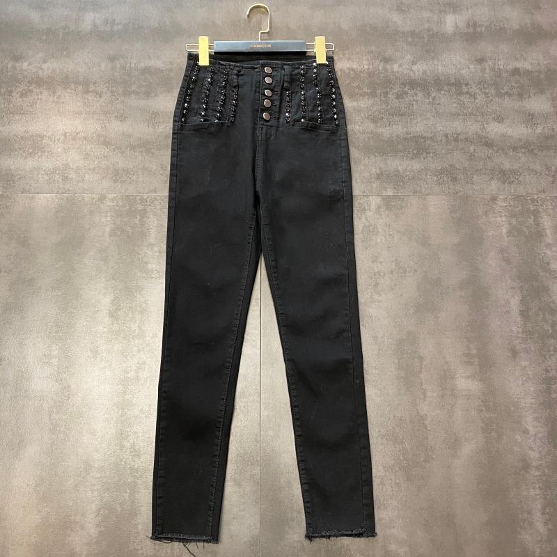 2020 New Pants Black Diamond Slim Fit boucle en métal haute Pantalon taille