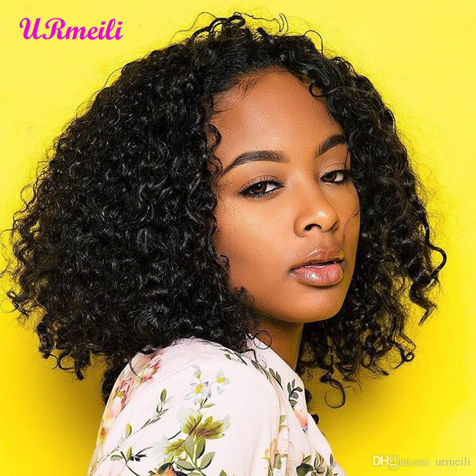 Glueless Curly Lace Front Human Hair Wigs Middle Part Short Bob Wigs Brazilian Water Weave Remy Hair For Black Women Pre Plucked