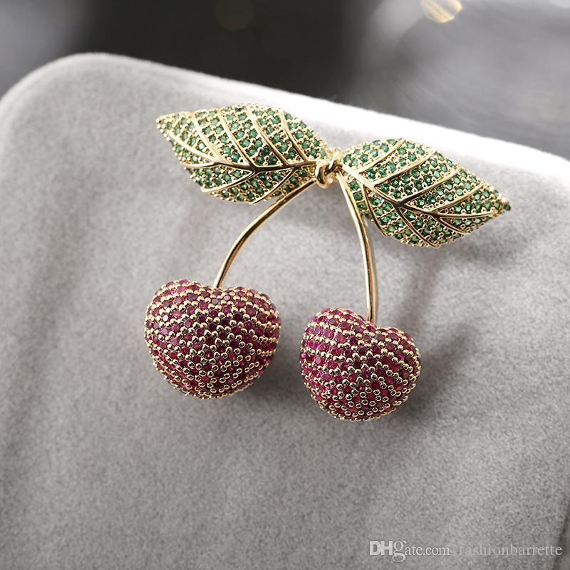 Nette empfindliche kupferne Brosche zwei rote Kirschgrün-Blätter kupferne Zirkon-Brosche-Nadel-Kleid-Rucksack-Schmucksache-Zusatz-Qualität