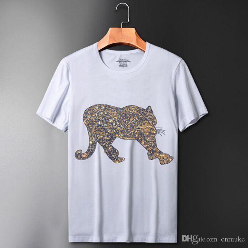 Design de luxo de Diamantes T-shirt casual de manga curta o pescoço impresso algodão camiseta homens j9