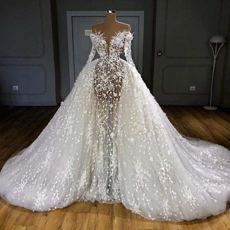 2021 Vestidos de novia de la sirena árabe Vestidos nupciales con tren desmontable Peremas de manga larga Lace Apliquen Robe de Mariée