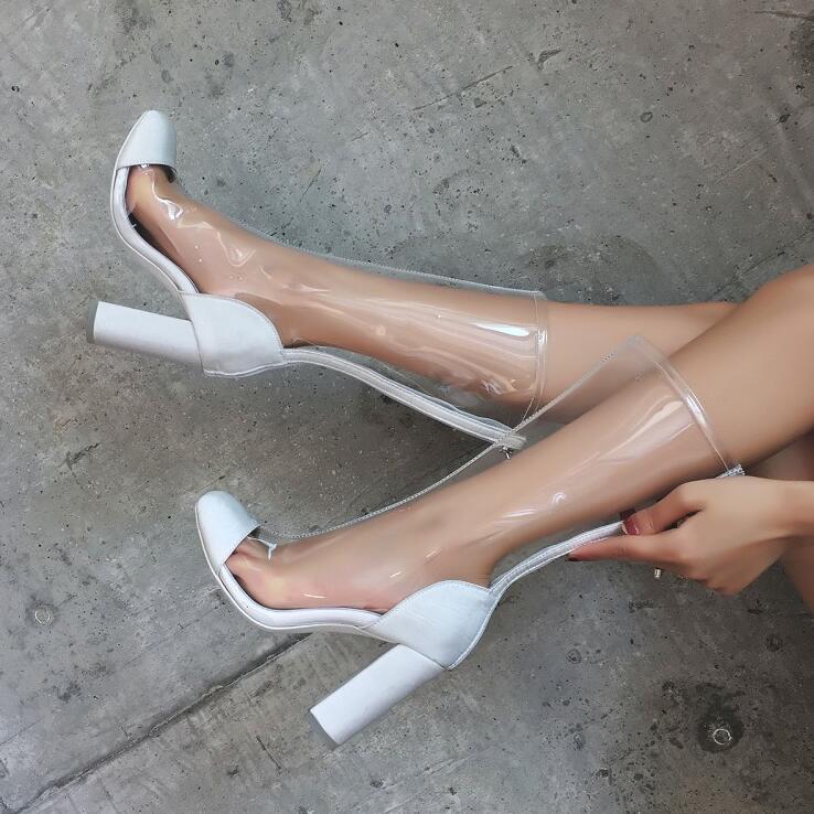 Hot Sale-donne trasparenti Stivaletti caldo Bianco Black Clear PVC sexy corto stivali tacco alto donne Zipper Boots