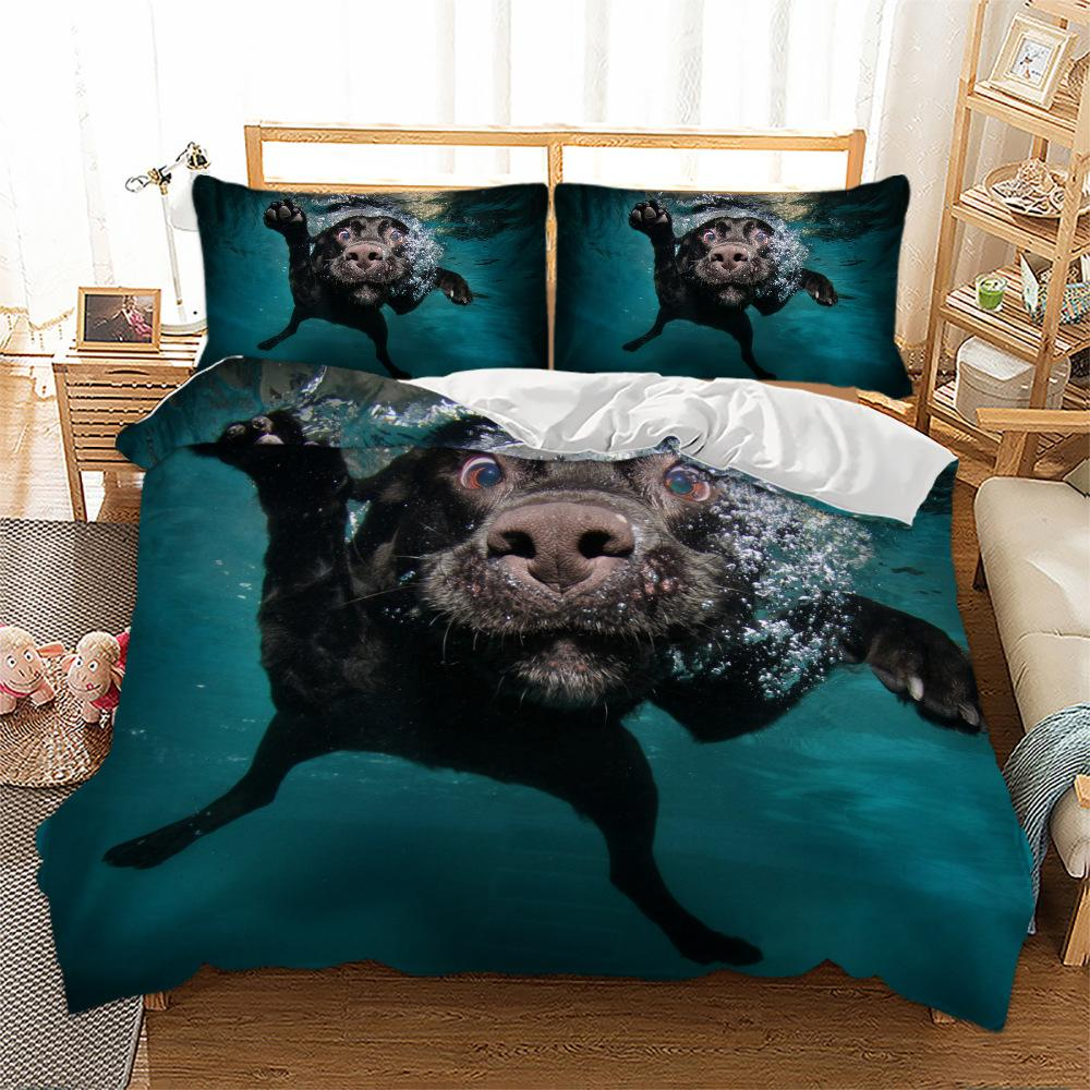 3D Cute Cat Dog Digital Printing comforter bedding sets Duvet Quilt Cover Pet Animal Tribal 3D Bed Cover Two Pillowcases Single