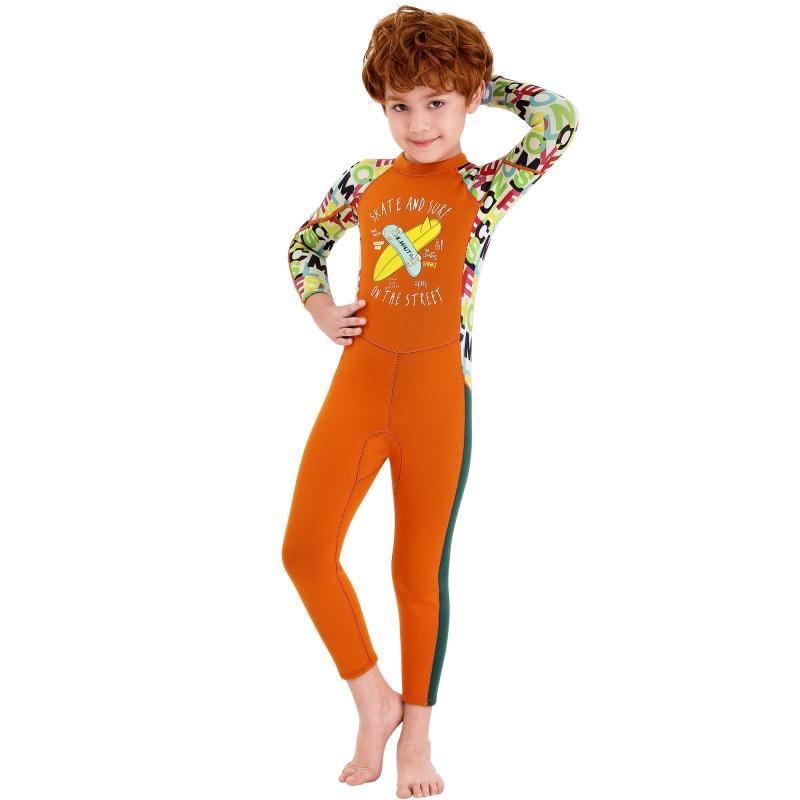 Kids Diving Suit 2.5MM Wetsuit Panda pattern Boys Girls Keep Warm One-piece Long Sleeves UV-proof Swimwear