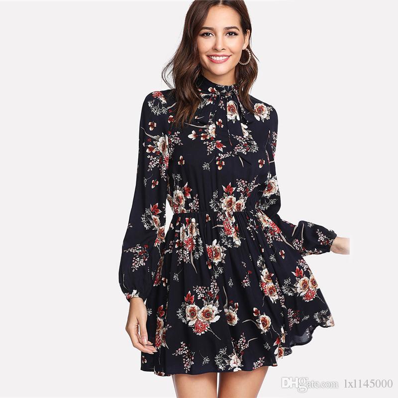 Autumn Floral Women Dresses Multicolor Elegant Long Sleeve High Waist A Line Chic Dress Ladies Tie Neck Dress