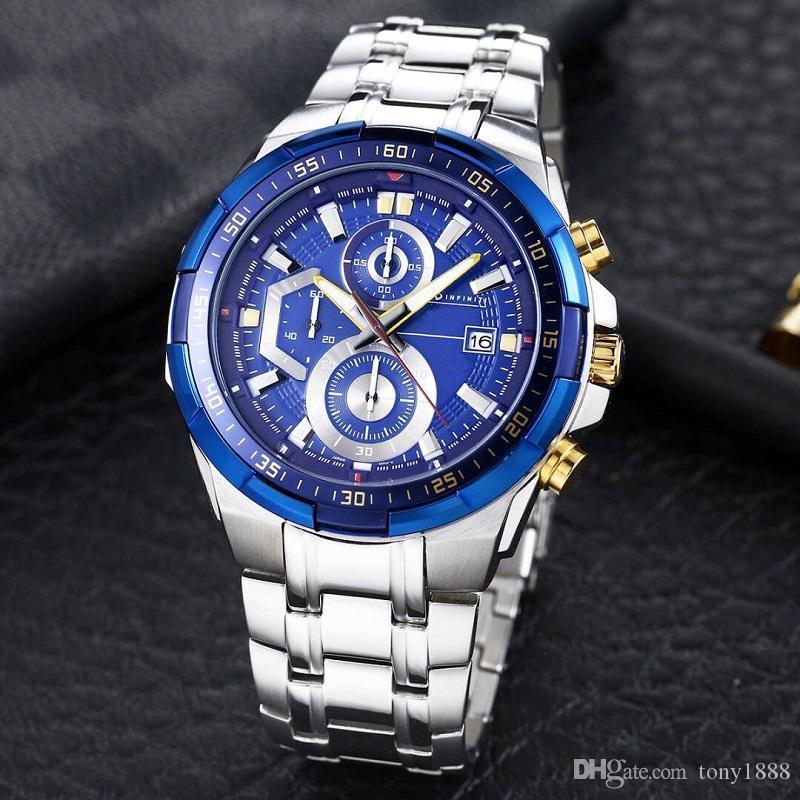 Venta caliente de los hombres superiores de la calidad relojes de moda diseñador movimiento de cuarzo de acero inoxidable reloj de pulsera EFR539 relojes con la caja