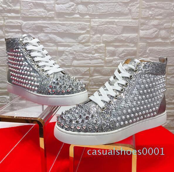 Sliver Leather Spikes Sneakers calçados de alta qualidade Red inferior Walking Casual famosa marca enchida Mulheres, Homens partido casamento perfeito presente AC01