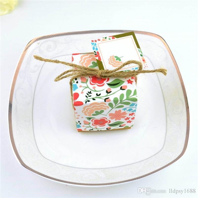 Vintage Kraft Çiçek Baskılı Şeker Kutusu Düğün Parti Lehine Şeker Hediye Kutusu Doğum Günü Şeker Ambalaj Kraft Kağıt Kutusu Için