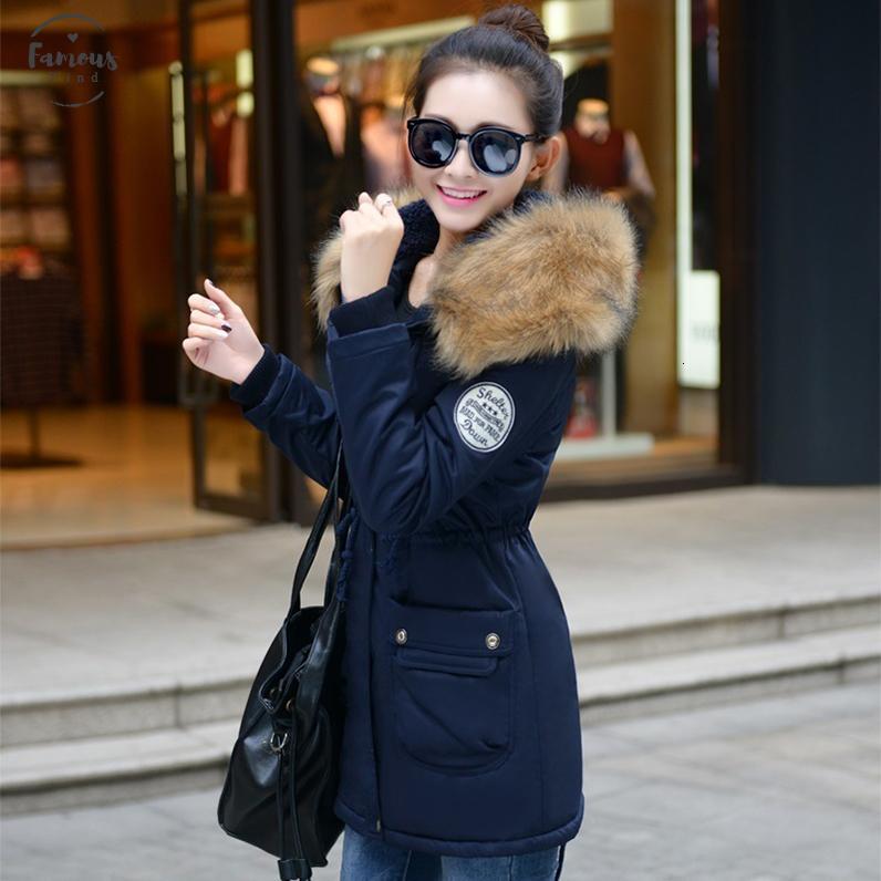 Autumn Fashion Warm Winter Womens Women Fur Collar Long Parka Plus Size 4Xl Casual Cotton Jackets Parka 1223C