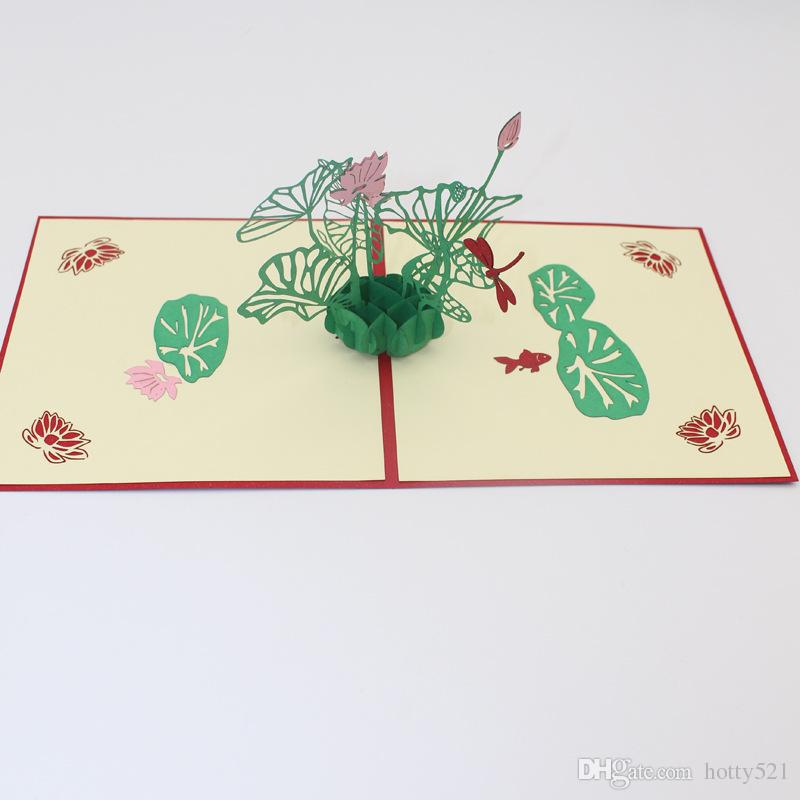 Magnificent New Lotus Flower Handmade Kirigami Origami 3D Pop Up Greeting Personalised Birthday Cards Veneteletsinfo