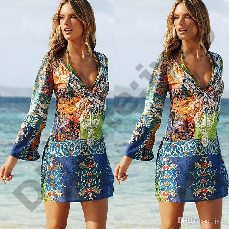 حار 2019 المرأة مثير الشيفون بيكيني التستر شاطئ ملابس اللباس وشاح صوفية ردائه التفاف السيدات الصيف اللباس