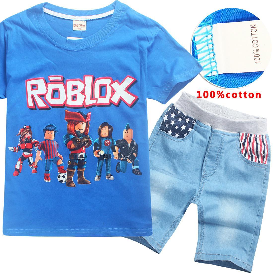 Roblox Korean Fashion 2020 Cotton 6 14 Years Boys Summer Dress Jeans Set Roblox