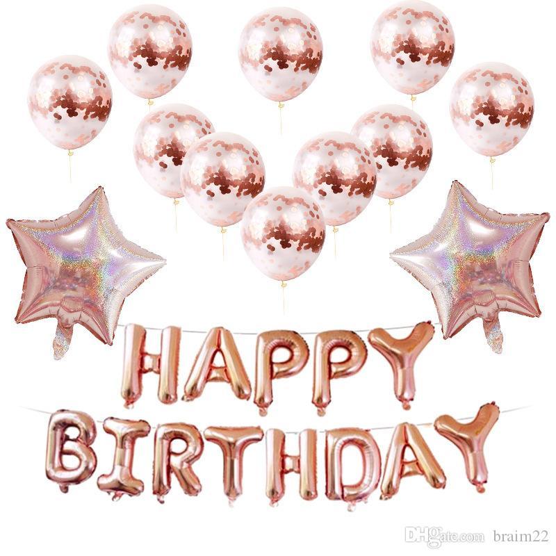 Gran Feliz Cumpleaños Fiesta Decoraciones De Papel de Aluminio Globos Globos Aniversario de Bodas