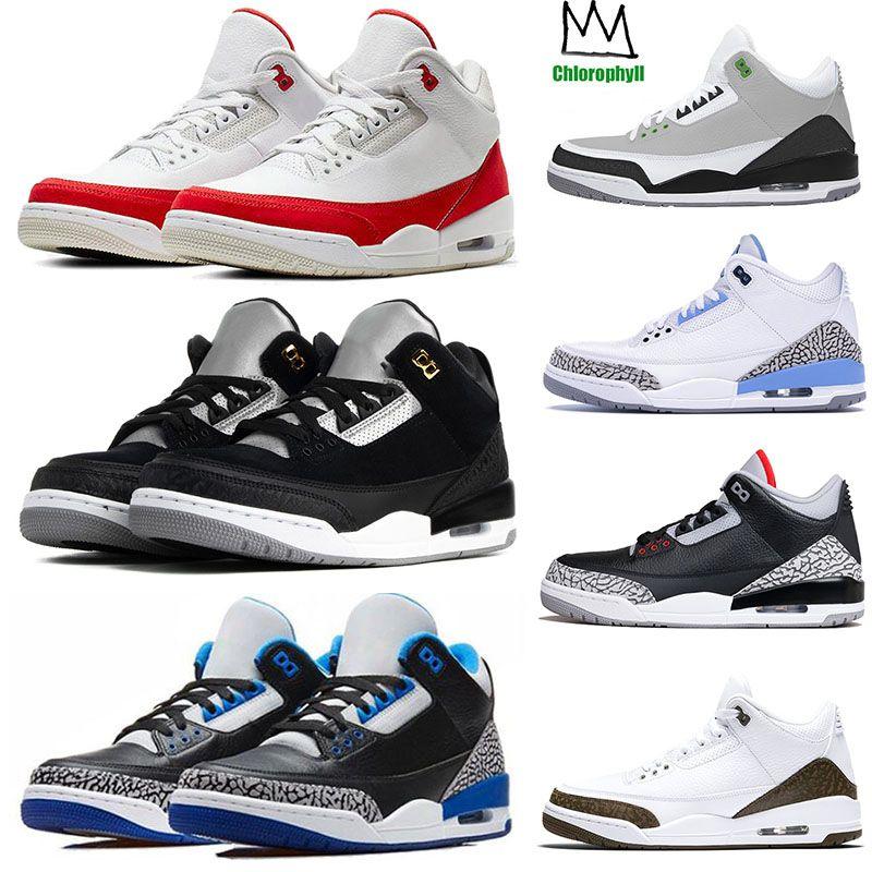 2019 Nike Air Jordan 3 Retro 3 Static TINKER SP BLACK CEMENT 3 3s  Zapatillas De Baloncesto Para Hombre UNC PE Clorofila III Zapatillas Hombre  ...