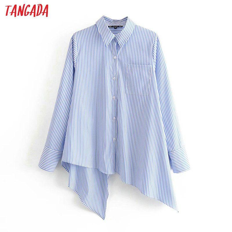 Tangada donne retrò stampa a righe di asimmetria della camicetta delle 2020 nuove donne blusas chic camicia casual femininas 3A69