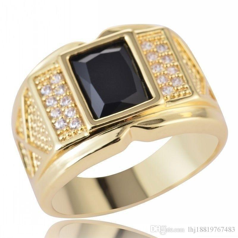 새로운 스타일 패션 유행 보석 남자 지르콘 구리 반지 약혼 결혼 생일 Chirstmas 선물 쥬얼리 블랙 반지 크기 8-15 # 056