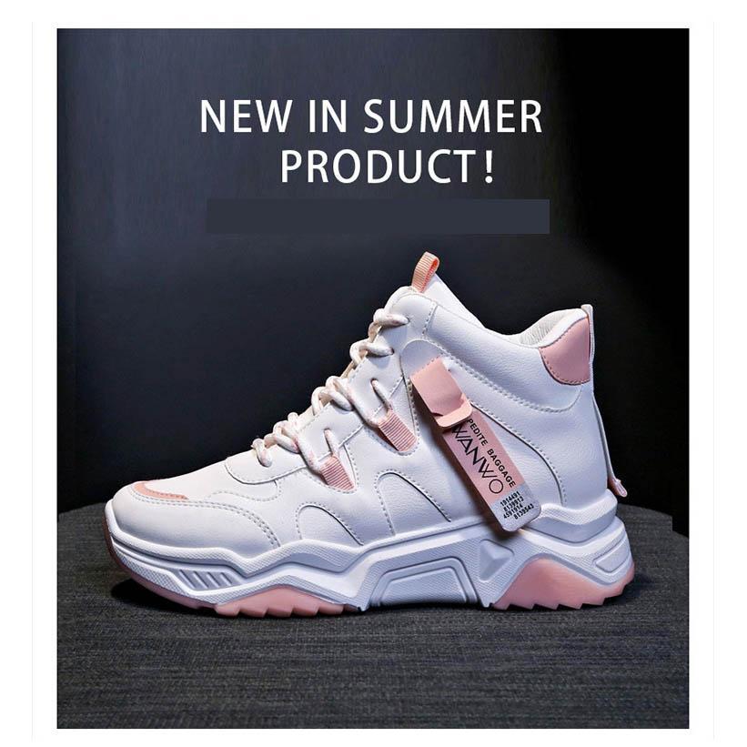 Femmes New Style Sportshoes haut Baskets montantes Étudiantes White Female RunningShoes sauvages Femmes Chaussures Casual 2020 Explosion d'hiver