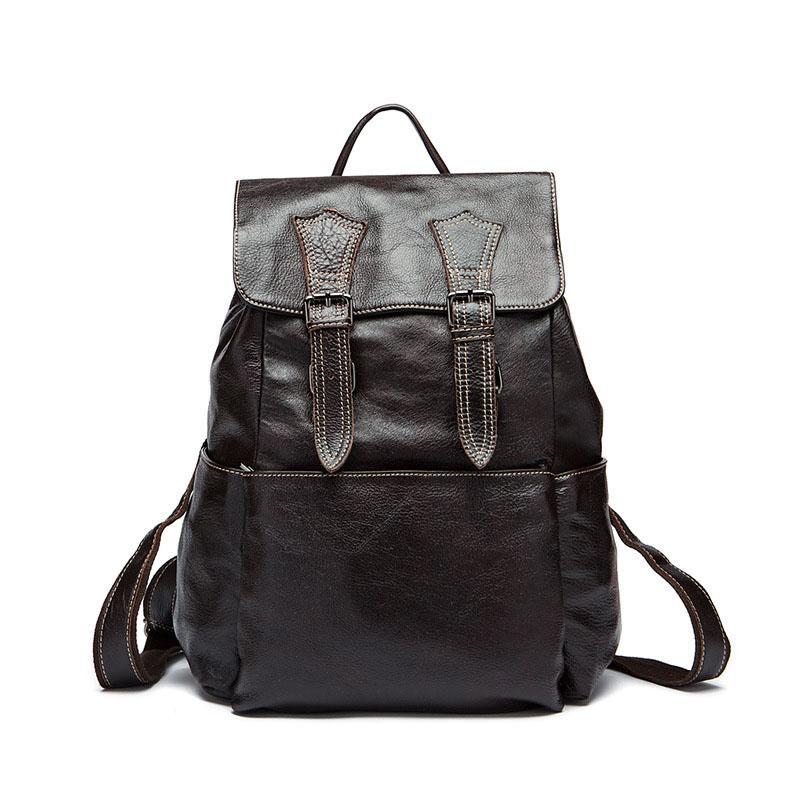 Men Backpack Waterproof Genuine Leather Laptop Backpack For Teenage Casual Travel School Shoulder Bag Big Pocket Backbag Bookbag