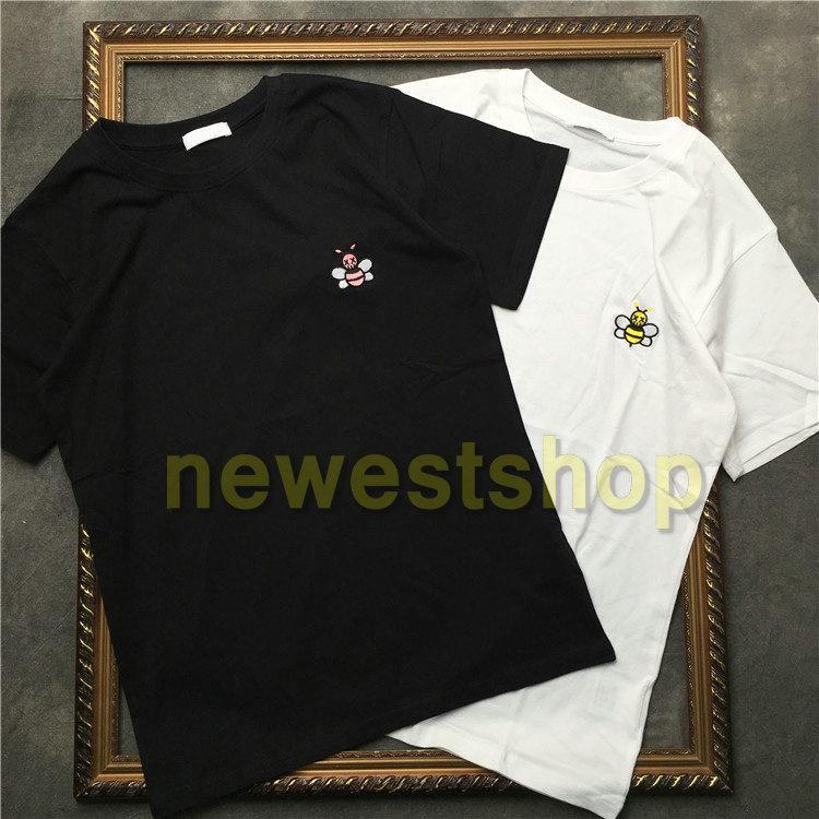 2020 nuevo verano de lujo para hombre bordado Europa abeja camiseta de calidad superior de las camisetas de la alta calidad de diseñador de la camiseta de la calle Mujeres camiseta informal