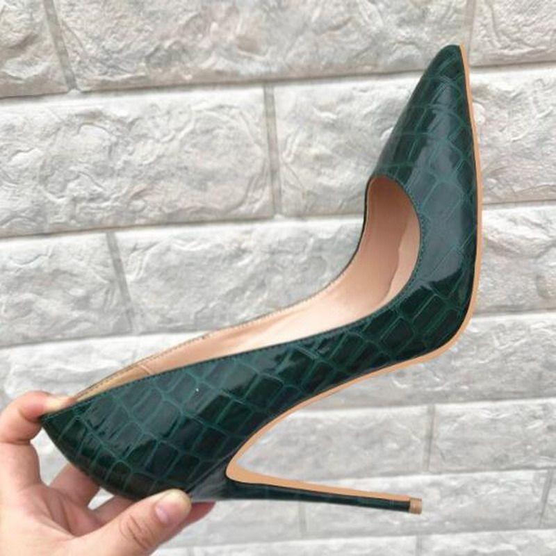 Chaussures Femmes Ligne bleue en cuir verni Pierre Sexy Stilettos High Heels 12cm / 10cm / 8cm femmes Pointu Toe Party Dress Escarpins Chaussures de mariage