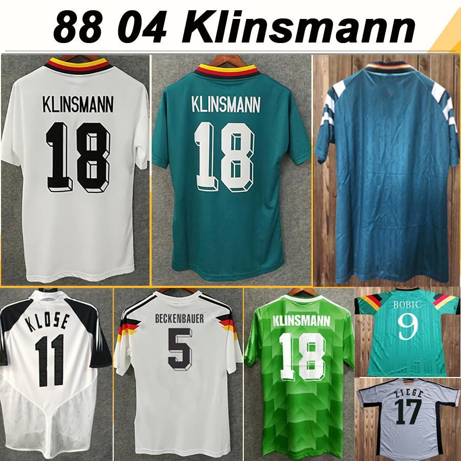 88-96 Matthäus Klinsmann Brehme Mens maglie di calcio 98-04 Nazionale BOBIC SCHOLL Kuranyi PODOLSKI BALLACK KLOSE casa Fuori Football Shirt