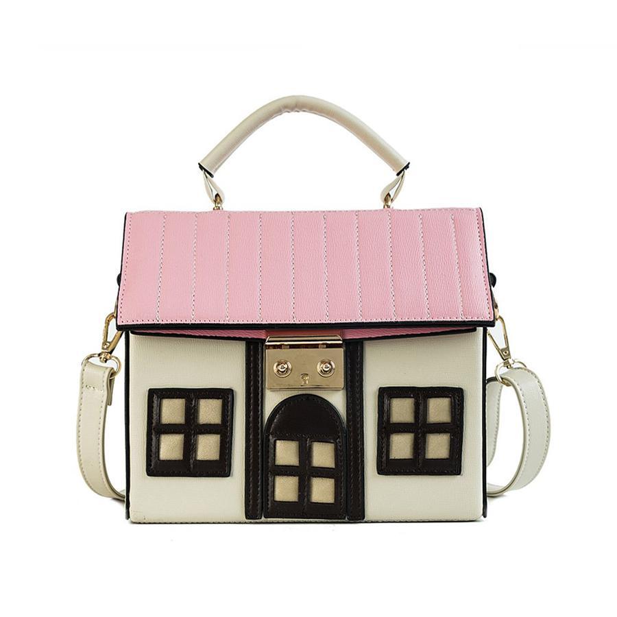 Funny Cute Cartoon House Design Pu Leather Handbag Women's Personality Handbag Ladies Shoulder Crossbody Messenger Bag Bolsa New