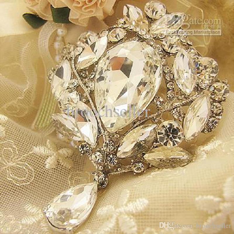 Broche de mariage en cristal plaqué argent goutte de goutte de larme claire de 3,5 pouces
