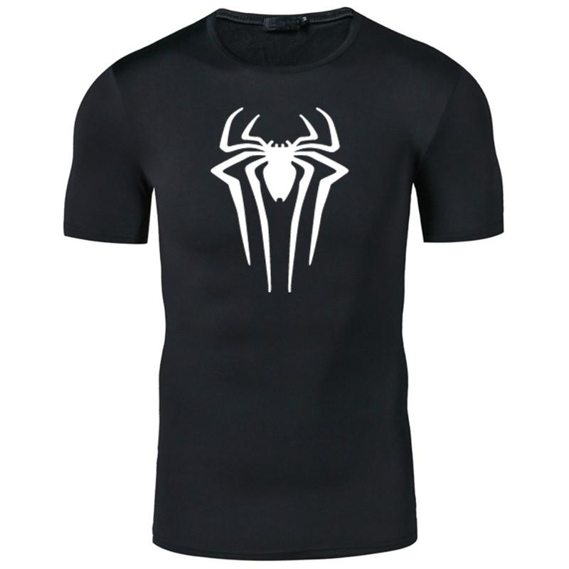 Film Superhero Spiderman Print T Shirts Men Short Sleeve Summer T Shirts Male Quick Drying Fitness Tops Tees