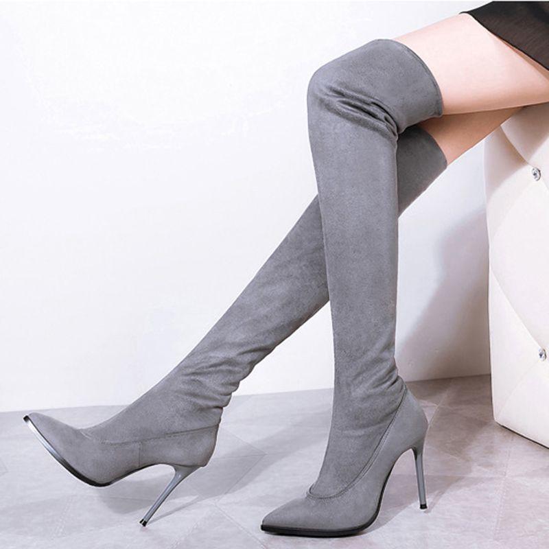 Diz Boots Seksi Kadın Sonbahar Kış Lady Uyluk Yüksek Long fazla 2019 Yeni Ayakkabı Kadınlar Çizme Siyah