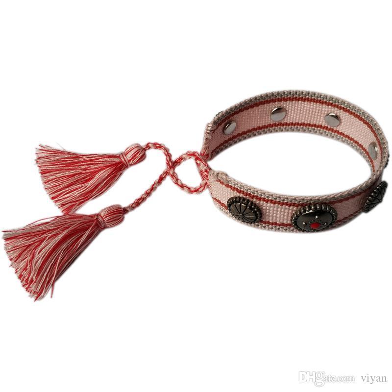 2020 женщин роскошь American Crafts Тканые браслеты Amulet вышивки Письмо Браслет Классический ручной браслет бесплатная доставка