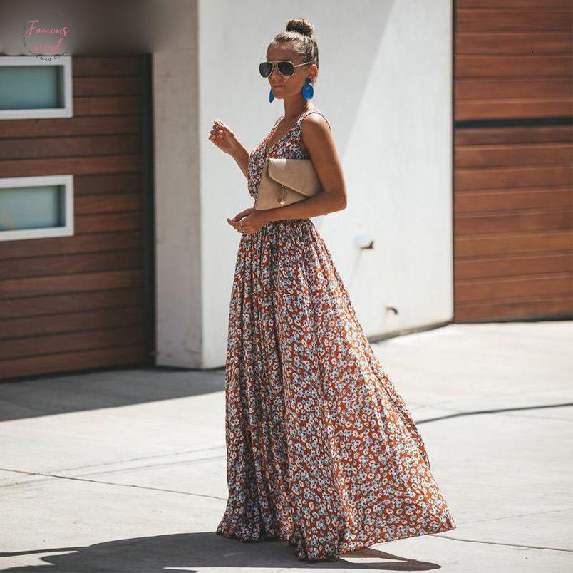 Sin mangas de cuello vestido de las mujeres de la gasa larga del vestido floral de la flor de las mujeres Vestido largo de la playa del verano largo V de talle alto de Split