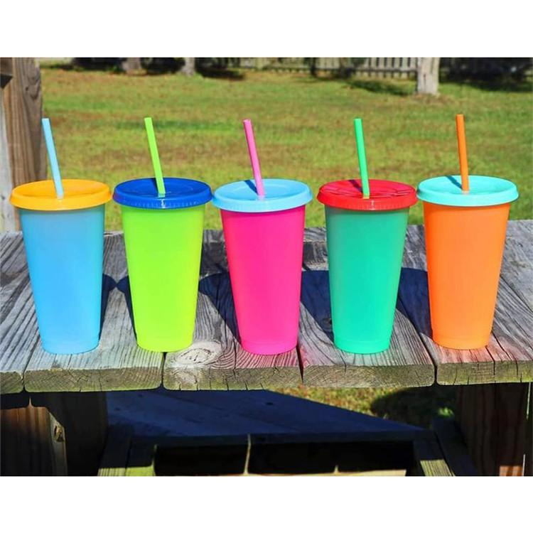 24oz Plastic Color Changing Cup PP temperature sensing Magic Drinking cup with lid and straw Candy colors Reusable coffee mug