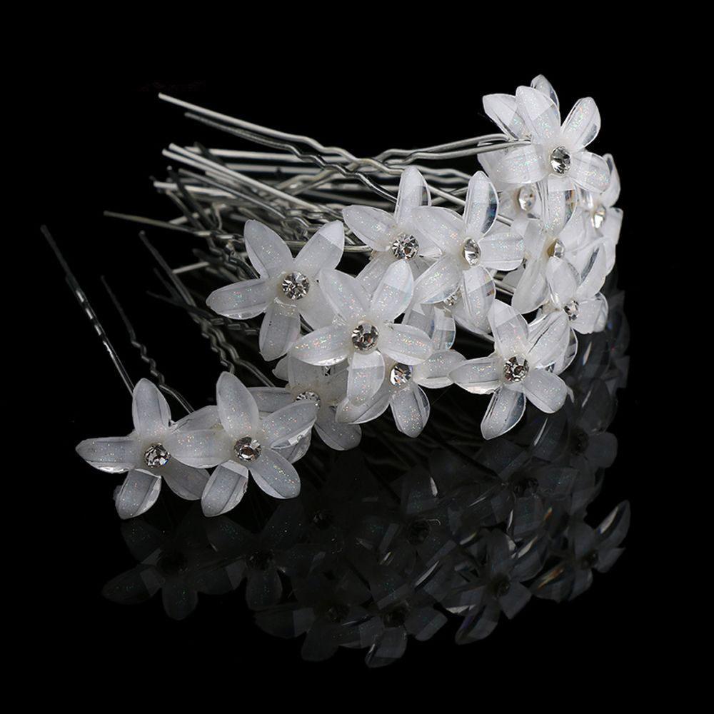 20Pc/Set Women Crystal Rhinestone Flower Hair Pins Clips Wedding Bridal Barrettes Hairpins Hair Styling Accessories C19010901