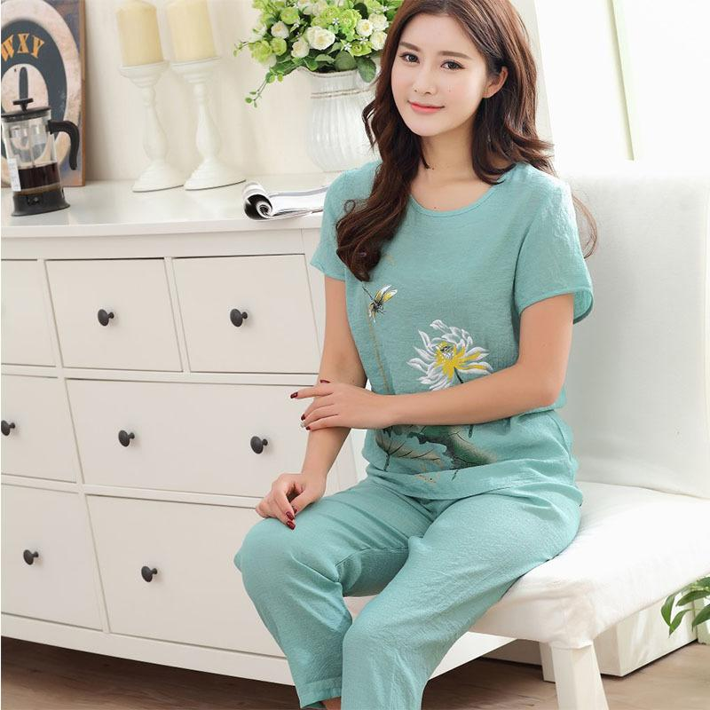 Loose Pajama Sets Women embroidery Flower 2 Pieces Set Cotton T shirt Top + Trousers Elastic Waist Plus Size XXXL 4XL Nightgown