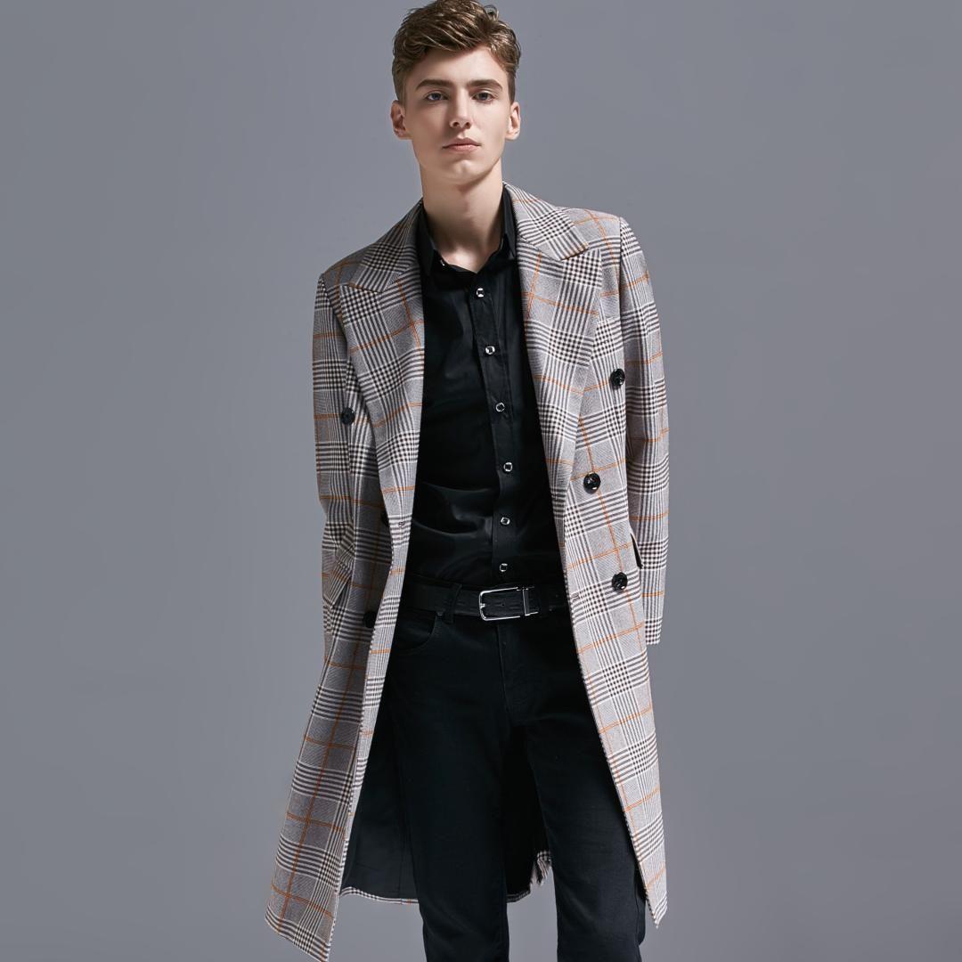 New Long Overcoat Herren Luxus Zweireiher Plaid Herren Windbreaker Plus Size 6xl Trench Frühling und Herbst Herren Blazer Jacke