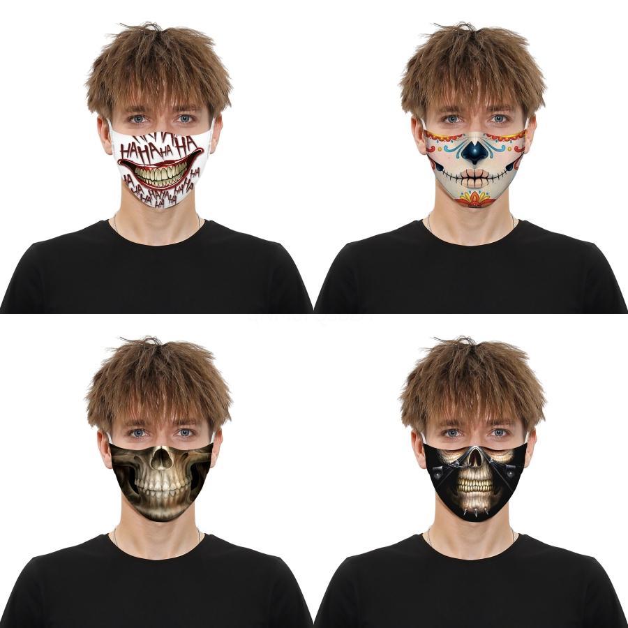 Maschera di personalità cranio Maschere 3D Nero antipolvere di stampa di modo del ghiaccio tessuto di seta può essere lavato # 406