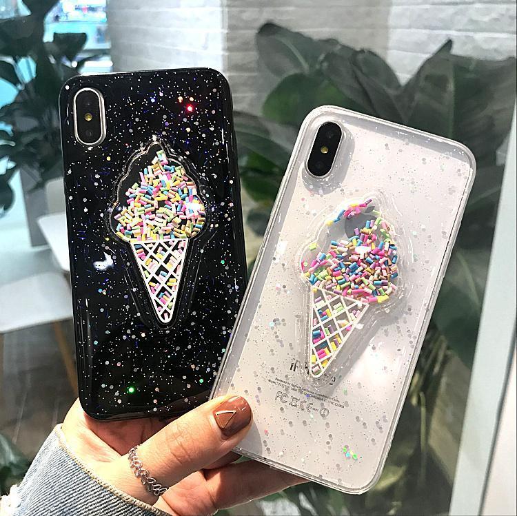 Rosa dinâmico 3D Ice Cream Phone Case para Iphone 6 Caso 6 Plus Adorável Líquido Quicksand telefone capa para o iPhone 7 X Caso 7 8 Plus