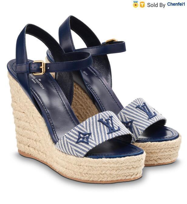 chenfei1 H1WY 1A3RBW 항해 거리 웨지 샌들 패션 BLUE 여성 하이 힐 로리타 신발 운동화 드레스 슈즈 PUMPS